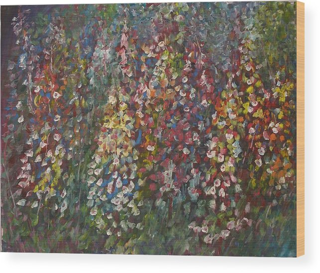 Flowers Wood Print featuring the painting Morning School Assembly by Wendy Chua