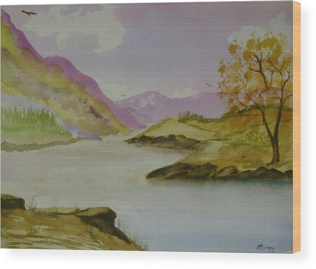 Mountains Wood Print featuring the painting Mountain River by Dottie Briggs