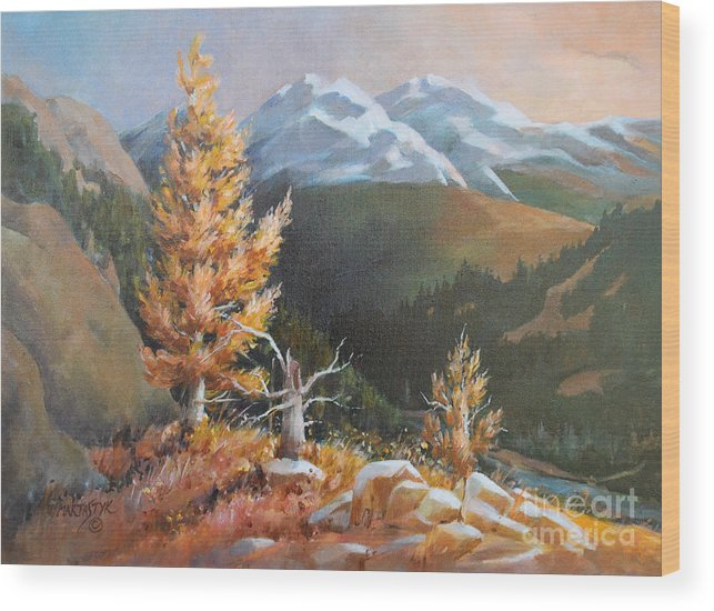 Landscape Wood Print featuring the painting Mt. Rainier 5 by Marta Styk