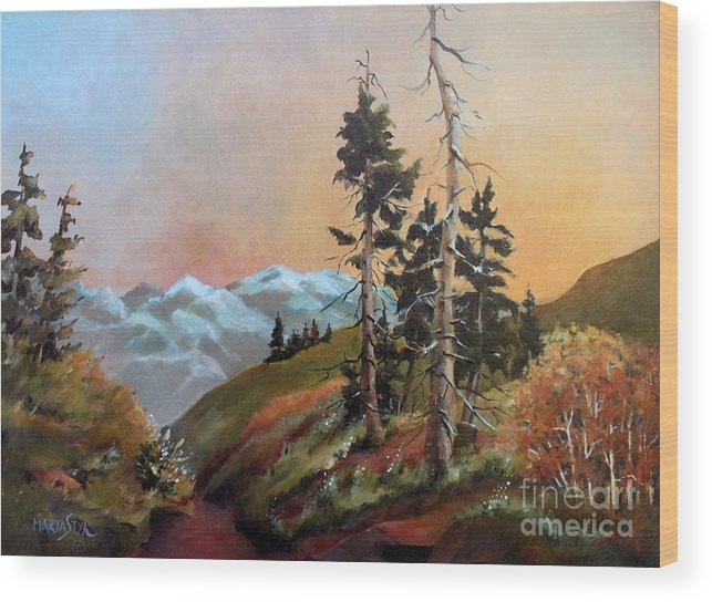 Landscape Wood Print featuring the painting Mt. Rainier 6 by Marta Styk
