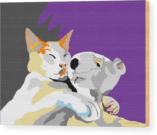 White Cat Wood Print featuring the digital art My Pal And Me by Su Humphrey