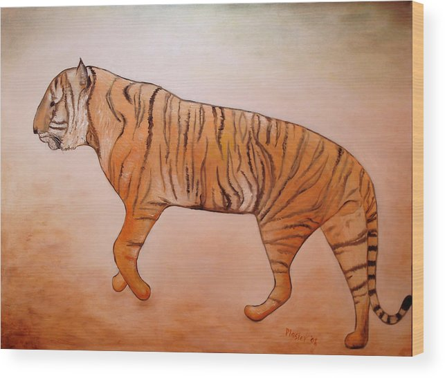 Animal Wood Print featuring the painting Mystic Tiger by Scott Plaster