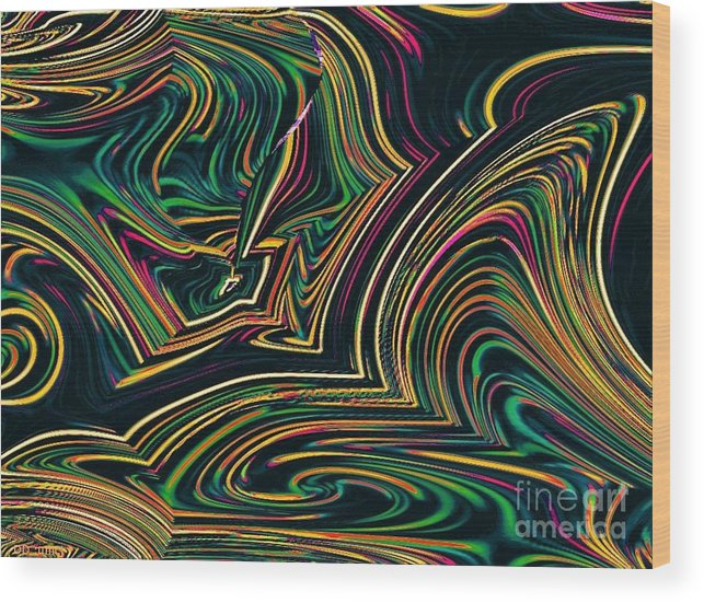 Green Wood Print featuring the digital art Neon Night Life by Debra Lynch