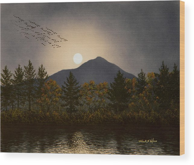 Mountains Wood Print featuring the painting Night Calls by Frank Wilson