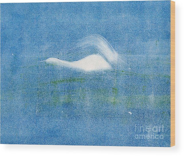 A Crane Flying At Night-original Monotype Print Wood Print featuring the painting Night Flight by Mui-Joo Wee