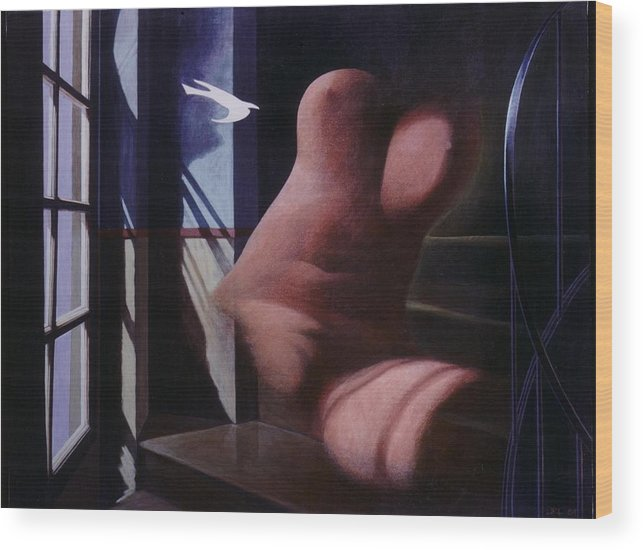 Window Wood Print featuring the painting Nude Descending Staircase by James LeGros