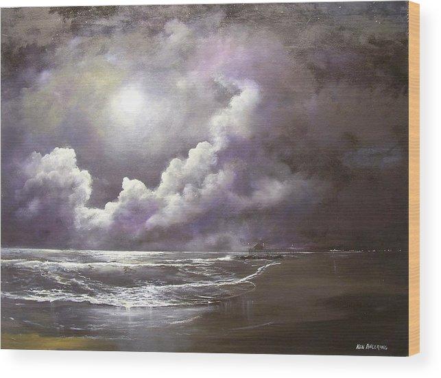 Ocean Wood Print featuring the painting Ocean Grove Moon by Ken Ahlering