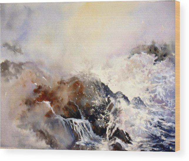 Seascape Wood Print featuring the painting Ocean Rage by Lynne Parker