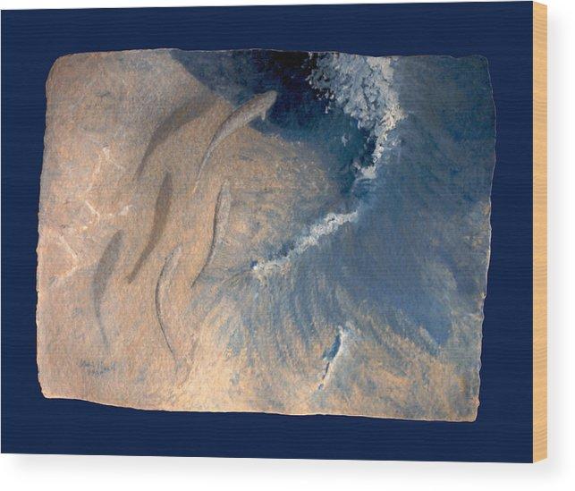 Seascape Wood Print featuring the painting Ocean by Steve Karol