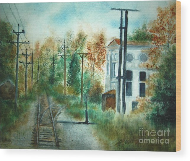 Landscape Wood Print featuring the painting Old Cn Station Fort Langley Bc by Vivian Mosley