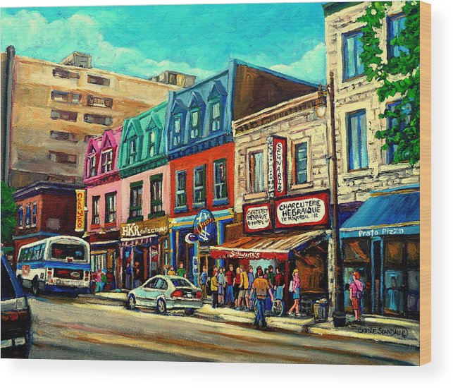 Old Montreal Schwartzs Deli Plateau Montreal City Scenes Wood Print featuring the painting Old Montreal Schwartzs Deli Plateau Montreal City Scenes by Carole Spandau