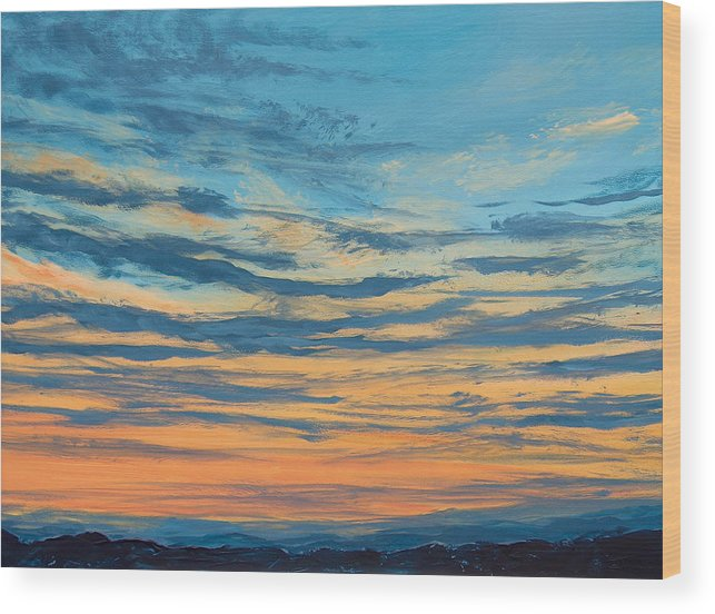 Sunset Wood Print featuring the painting Over The Hills by Pete Maier