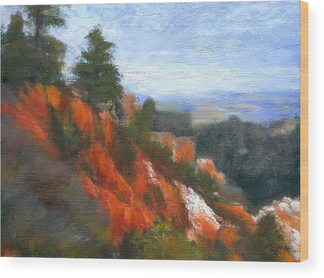 Southwest Wood Print featuring the painting Overlook by Gail Kirtz