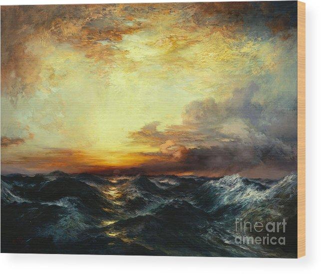 Thomas Moran Wood Print featuring the painting Pacific Sunset by Thomas Moran