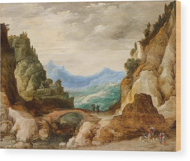 Josse De Momper Wood Print featuring the painting Panoramic Landscape With Travellers by MotionAge Designs