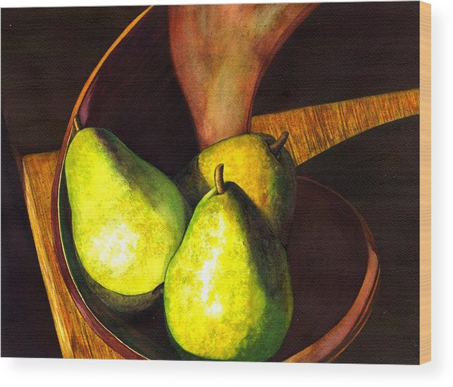 Still Life Wood Print featuring the painting Pears No 1 by Catherine G McElroy