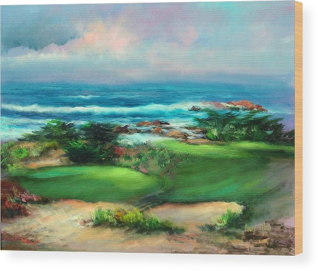 Golf Course Wood Print featuring the painting Pebble Beach by Sally Seago