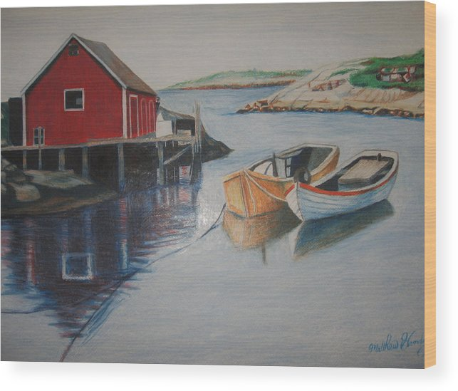 Seascape Wood Print featuring the drawing Peggys Cove by Matthew Handy
