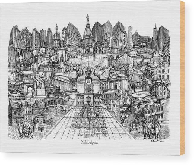 City Drawing Wood Print featuring the drawing Philadelphia by Dennis Bivens