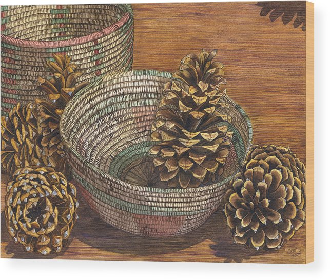 Pinecone Wood Print featuring the painting Pinecones by Catherine G McElroy