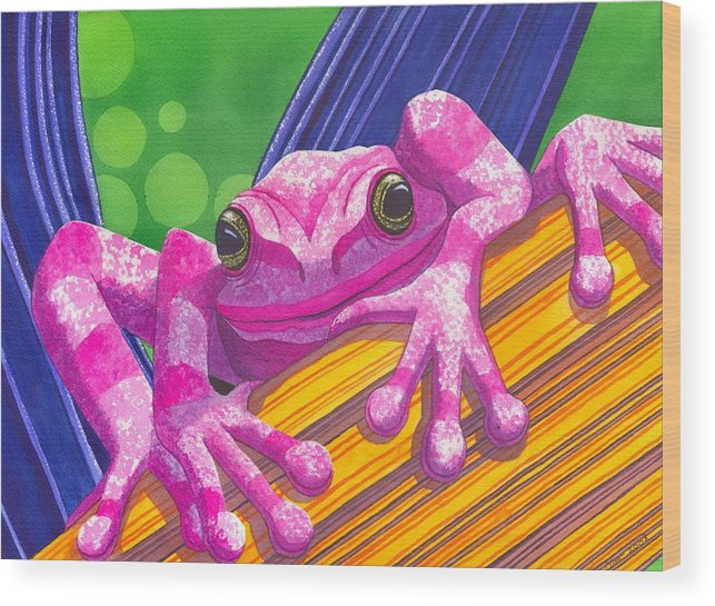 Frog Wood Print featuring the painting Pink Frog by Catherine G McElroy