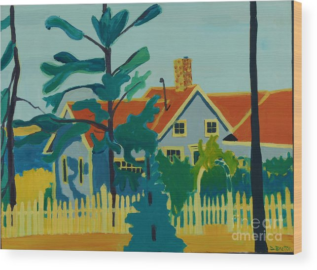 Beach Wood Print featuring the painting Pinkys House On Monhegan by Debra Bretton Robinson