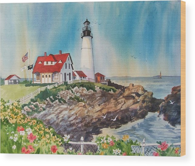 Portland Me Lighthouse Wood Print featuring the painting Portland Head Light by Dianna Willman