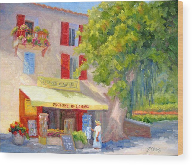 Provence Wood Print featuring the painting Postcard From Provence by Bunny Oliver