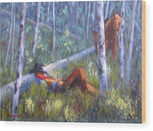 Cowboy Wood Print featuring the painting Quiet Siesta by Debra Mickelson