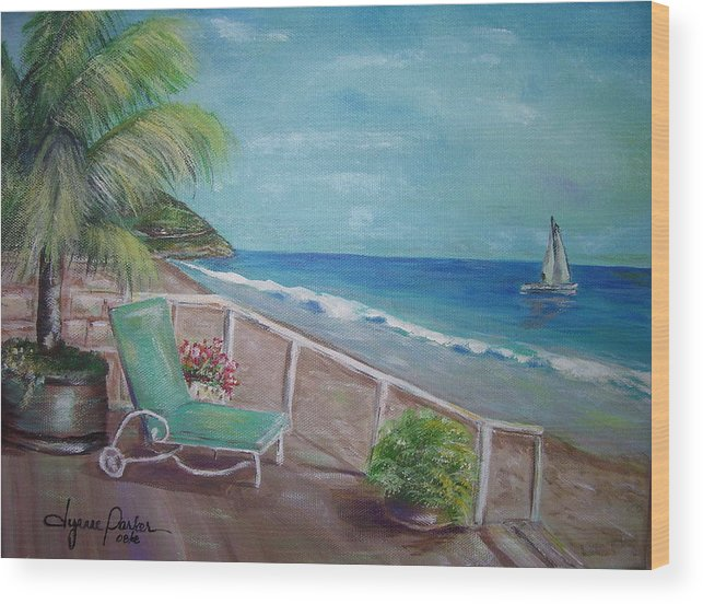 Landscape Wood Print featuring the painting Quiet Time In Malibu by Dyanne Parker