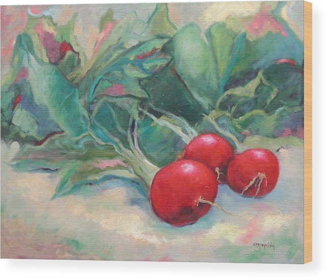 Radishes Wood Print featuring the painting Radishes by Ginger Concepcion