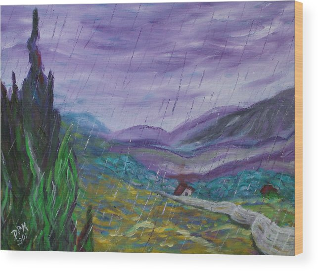 Rain Wood Print featuring the painting Rain by David McGhee