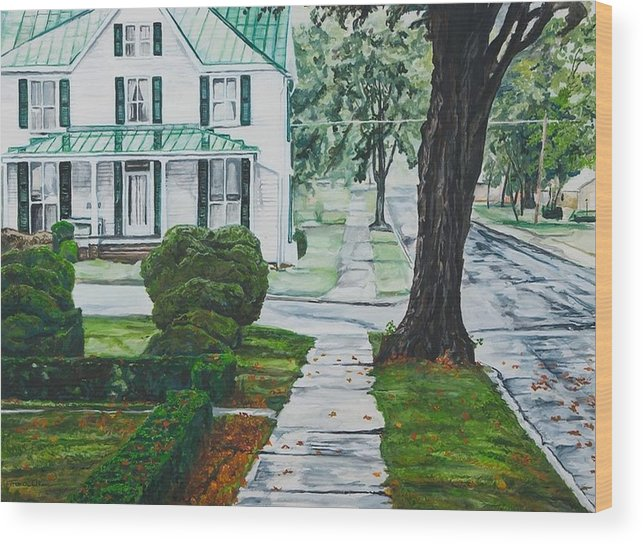 Small Town Wood Print featuring the painting Rain On Green Roof by Thomas Akers