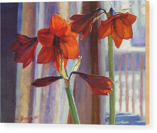 Floral Wood Print featuring the painting Red Amaryllis by Jeanne Young
