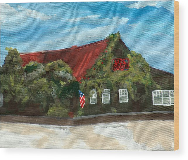 Red Bar Wood Print featuring the painting Red Bar - Blue Sky by Racquel Morgan