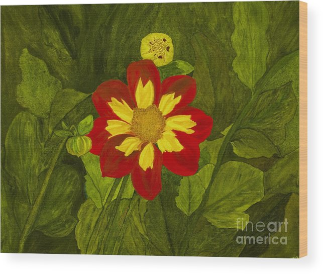 Red Wood Print featuring the painting Red Dahlia by Louise Magno