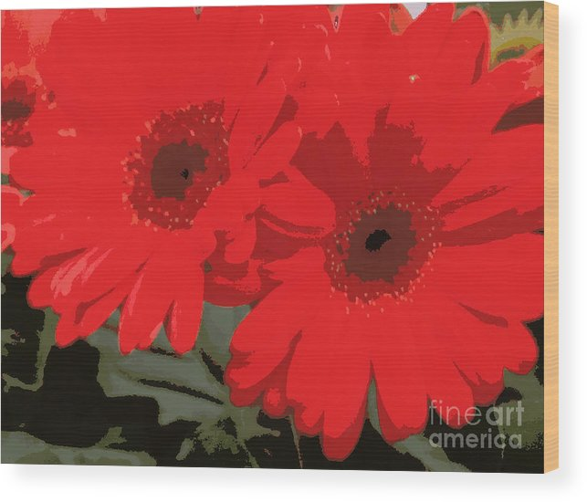 Daisys Wood Print featuring the photograph Red Gerberas by Pruddygurl Exclusives