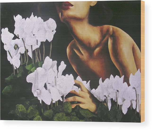 Nude Wood Print featuring the painting Red Lips White Flowers by Trisha Lambi