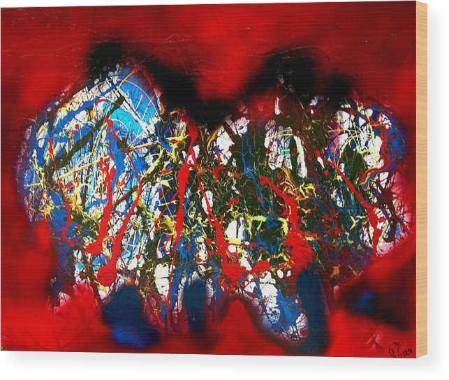 Abstract Wood Print featuring the painting Red Rock 2 by Paul Freidin