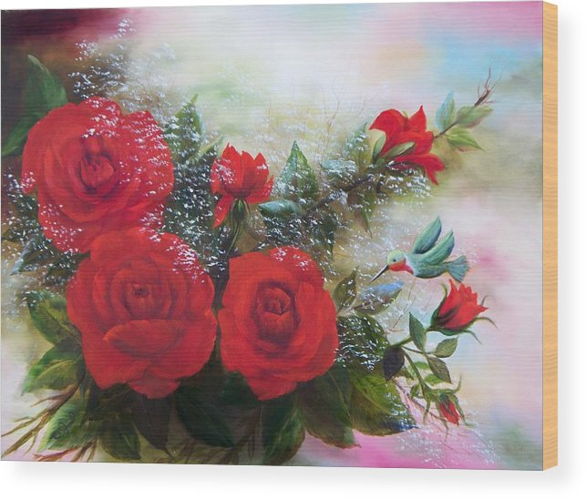 Oil Paintings Wood Print featuring the painting Red Roses by Joni McPherson