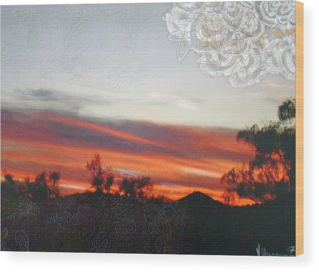 Landscape Wood Print featuring the mixed media Red Sunset One A by Ana Villaronga