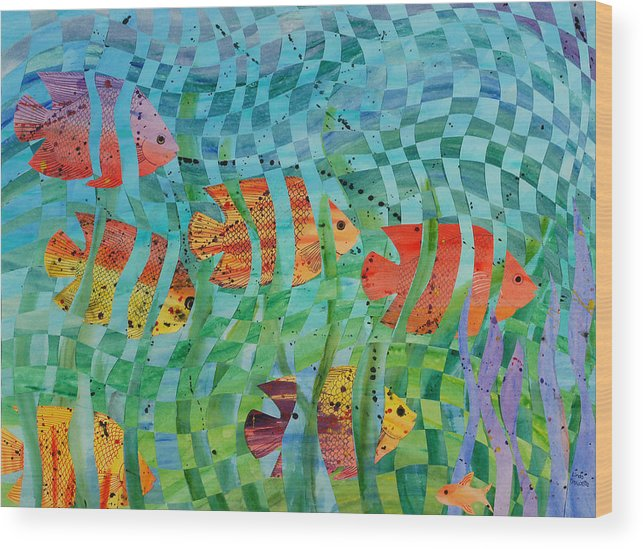 Fish Wood Print featuring the painting Reef 1 by Linda L Doucette