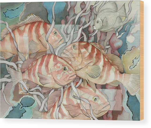 Fish Wood Print featuring the painting Reef Story by Liduine Bekman