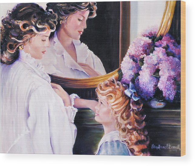 Women Wood Print featuring the painting Reflections On Mothers Day by Ellen Lerner ODonnell