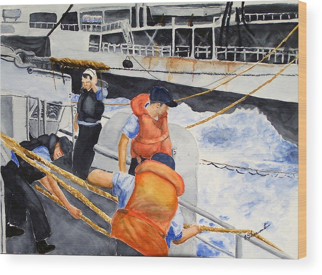 Navy Wood Print featuring the painting Refueling by Robert Thomaston