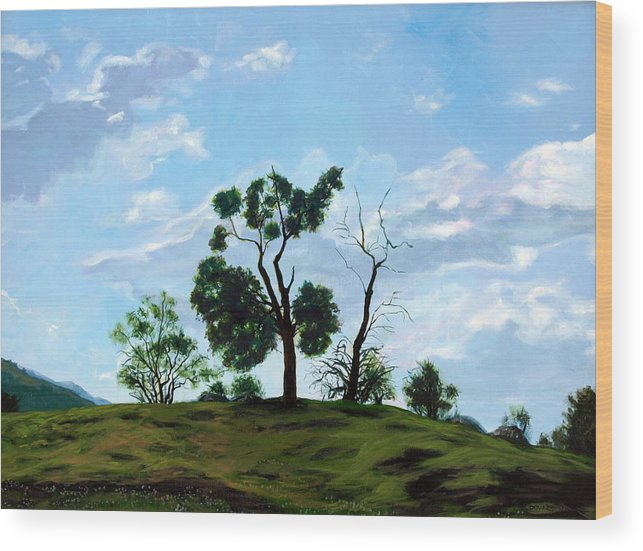 Landscape Wood Print featuring the painting Resurrection Sunday by Jill Iversen