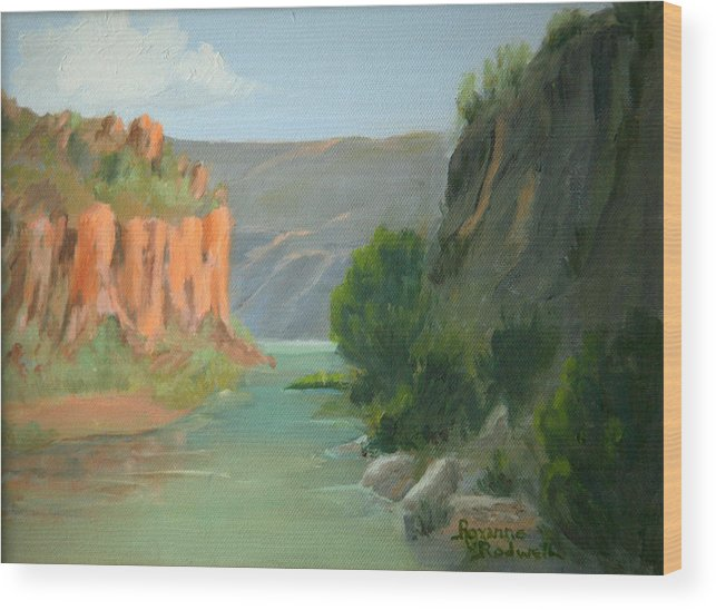 Landscape Wood Print featuring the painting Rio Grande Canyon by Roxanne Rodwell