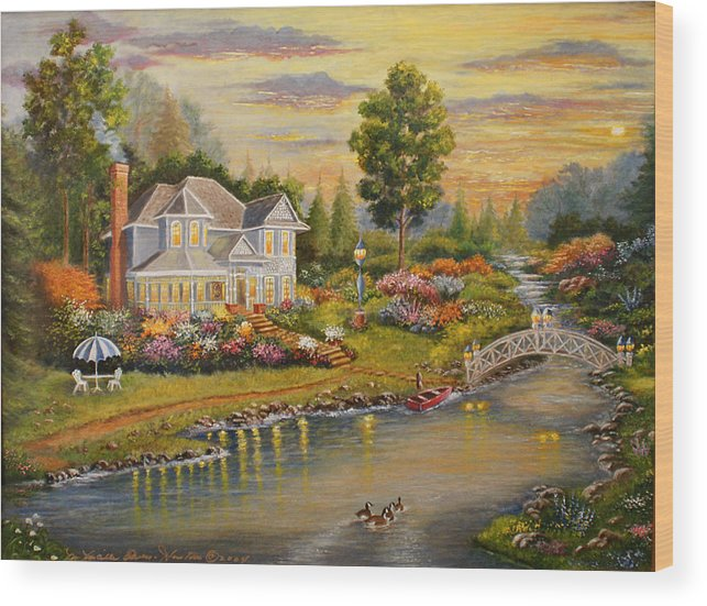 Landscape Wood Print featuring the painting River Home by Lucille Owen-Huston