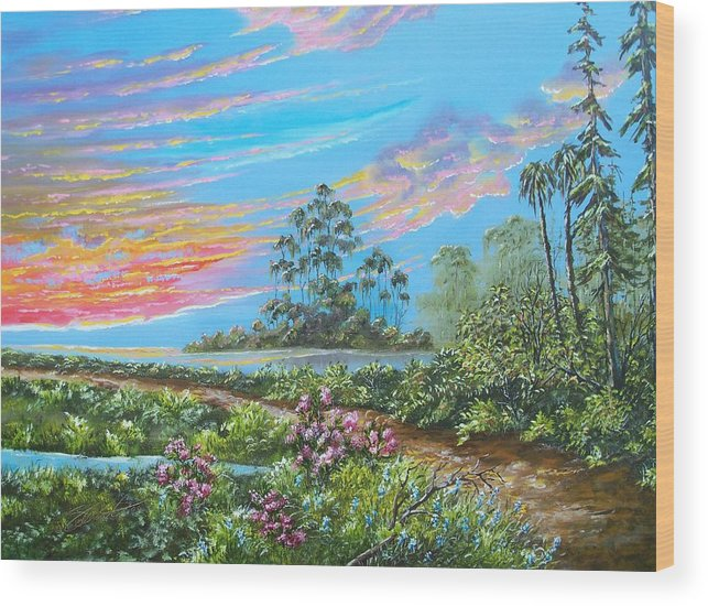 Landscape Wood Print featuring the painting Road To Happiness by Dennis Vebert