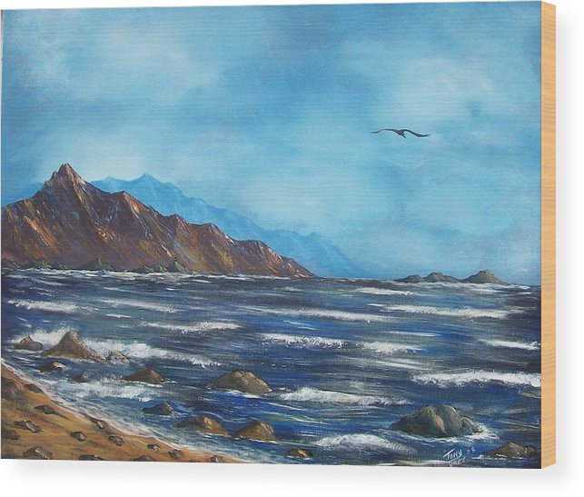 Seascape Wood Print featuring the painting Rocky Shores by Tony Rodriguez